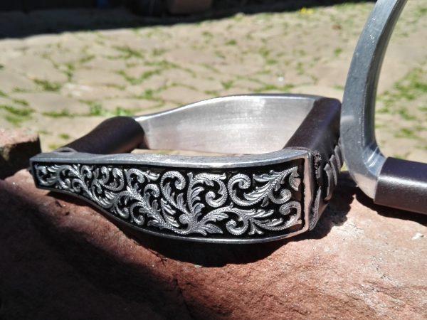 Weszernsteigbügel silber schwarz Gravur